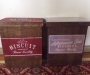 Two vintage style wooden biscuit boxes